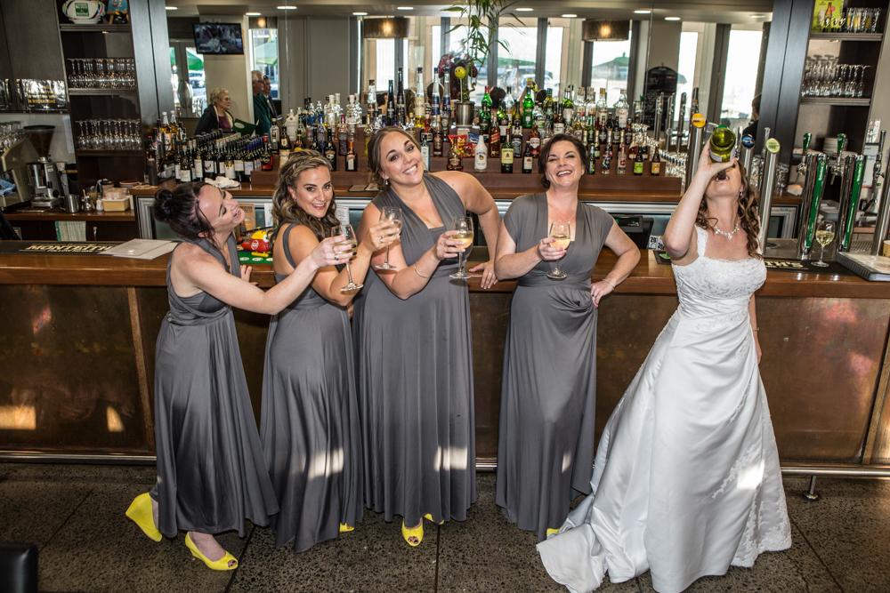Bride and Bridesmaids having a drink Bethlehem-3