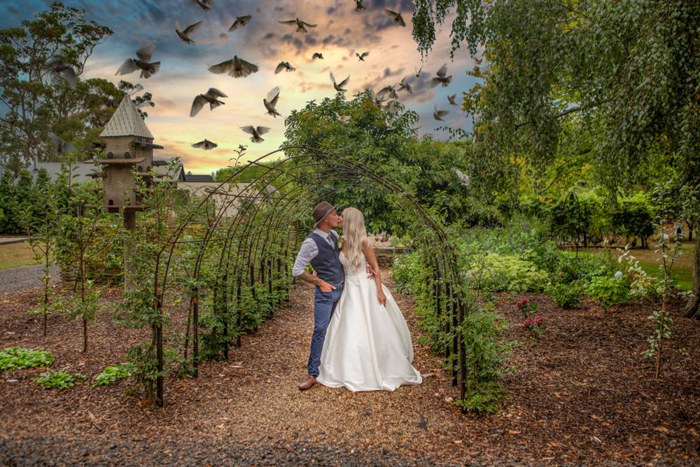 Flying doves over bride and groom Black Walnut Venue-13